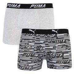 Трусы Puma Logo AOP Boxer 2-pack gray/white/black 501003001 200